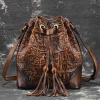 Women Natural Skin Shoulder Tassel Tote Bucket Bag Handbag Vintage Embossed High Quality Genuine Leather CrossBody Messenger Bag