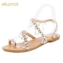 7d1c1a9e3e37 Fashion Girls Handmade Beading Pearl Beads Flat Thong Sandals Women Summer  Solid Color Gladiator Shoes 2019 New