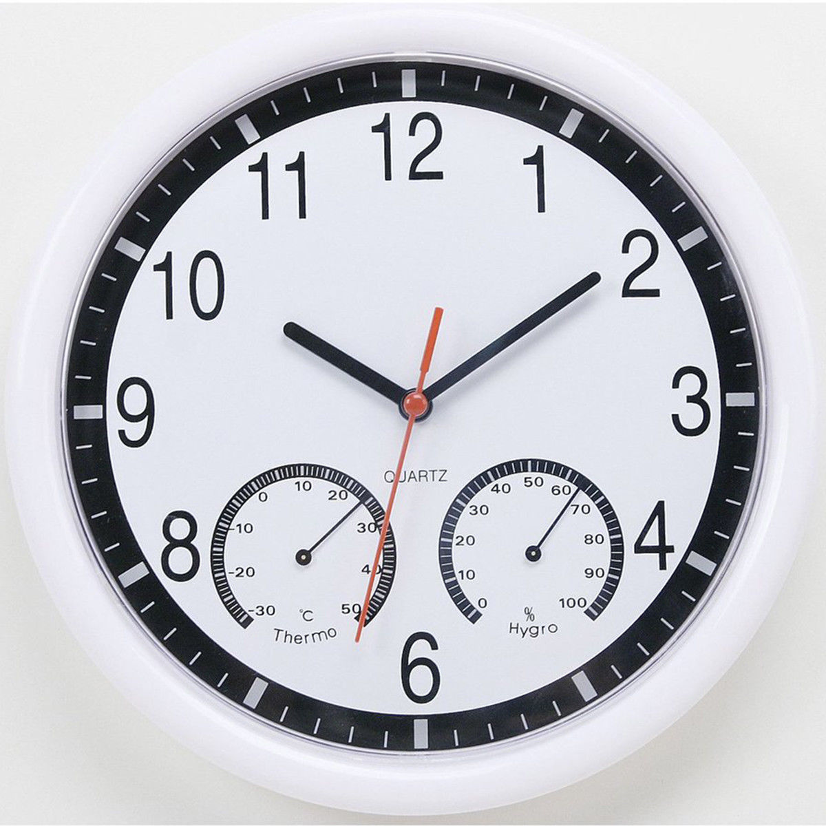 Silent Non-ticking Quartz Wall Clock With Thermometer And Hygrometer Home Office