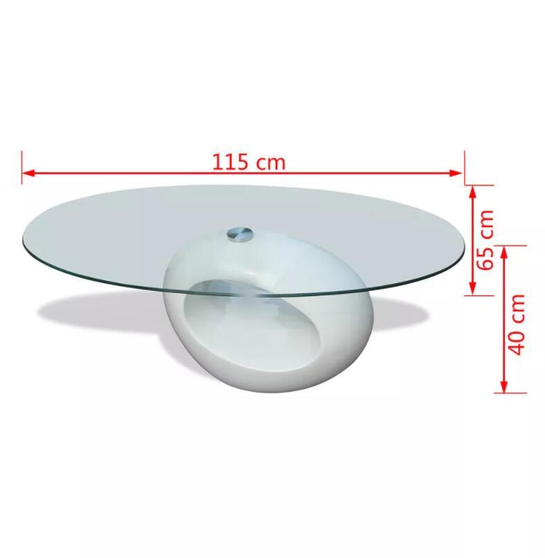 VidaXL mesa de sala Basse mesa de centro moderna con alto brillo Oval Base de vidrio mesa de noche de dormitorio mesa de noche decoración del hogar - 5