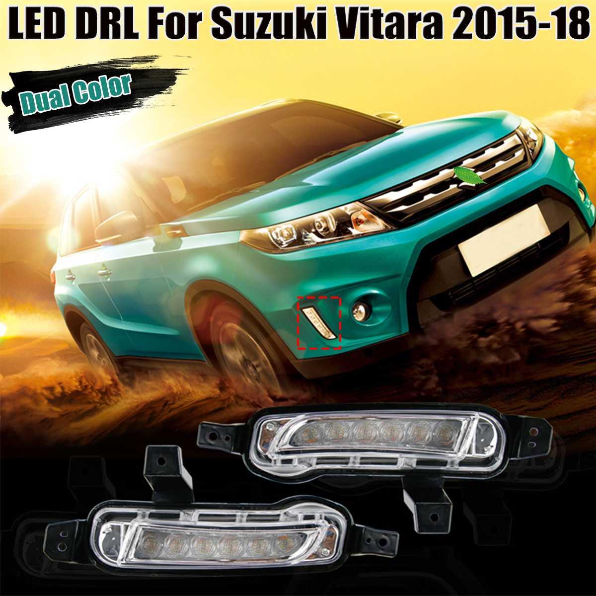 Белый янтарь двойной светодиодный СИД DRL дневного света противотуманные огни световой сигнал для Suzuki Vitara 2015 2016 2017 2018