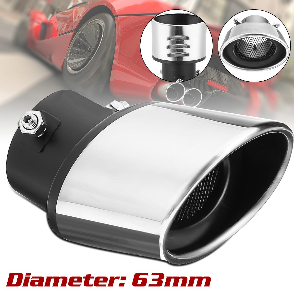 1pc Elbow ID 2.5/'/'//60mm Car Exhaust Pipe Muffler Tip Tail Blue For BMW BENZ VW
