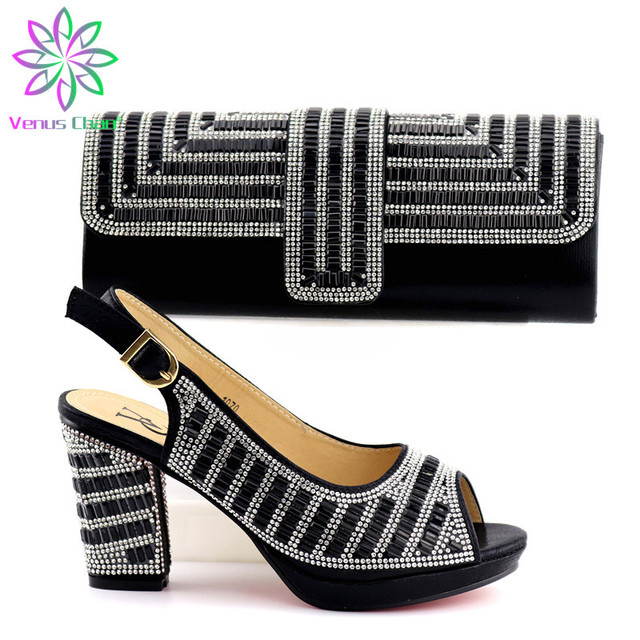 Sliver Color Italian Shoe with Matching Bags High Quality African Shoe and Bag Set for Party In Women Nigerian Shoes and Bag Set