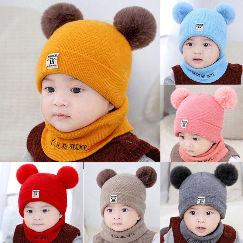 Newborn Baby Kids Knit Knited Hemming Cap Beanie Hat with Double Pom Pom Winter Ski Ear Cap Clode Baby Beanie