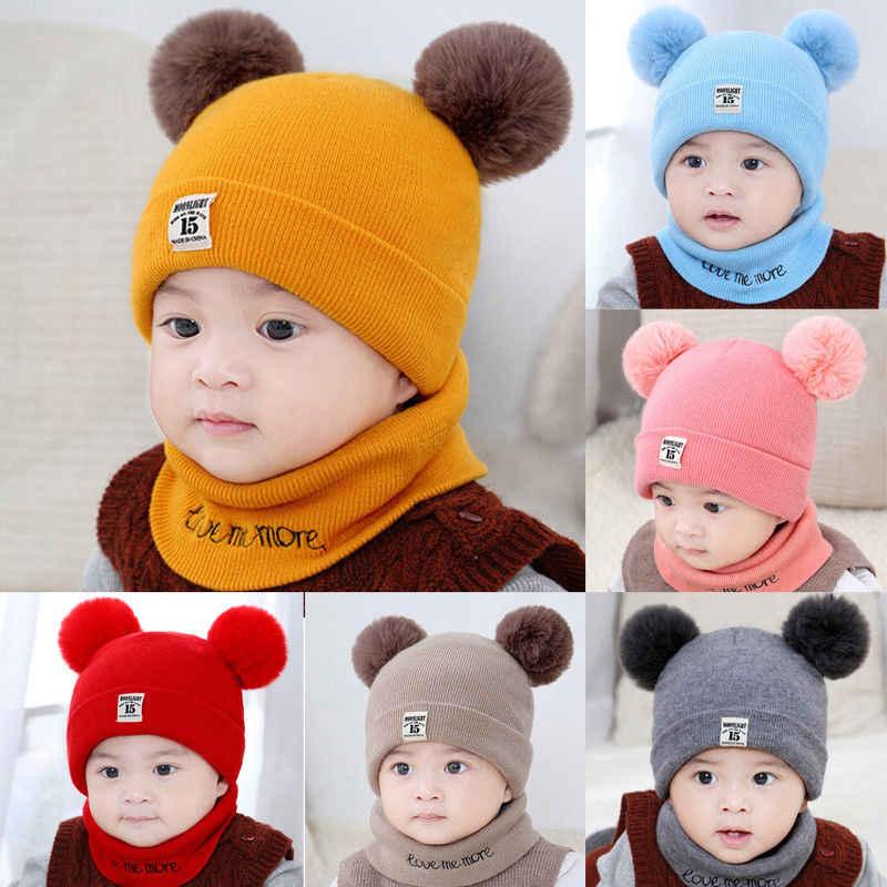 Newborn Baby Toddler Kids Boy Girl Winter Warm Fur Bobble Knit Beanie Hats Caps