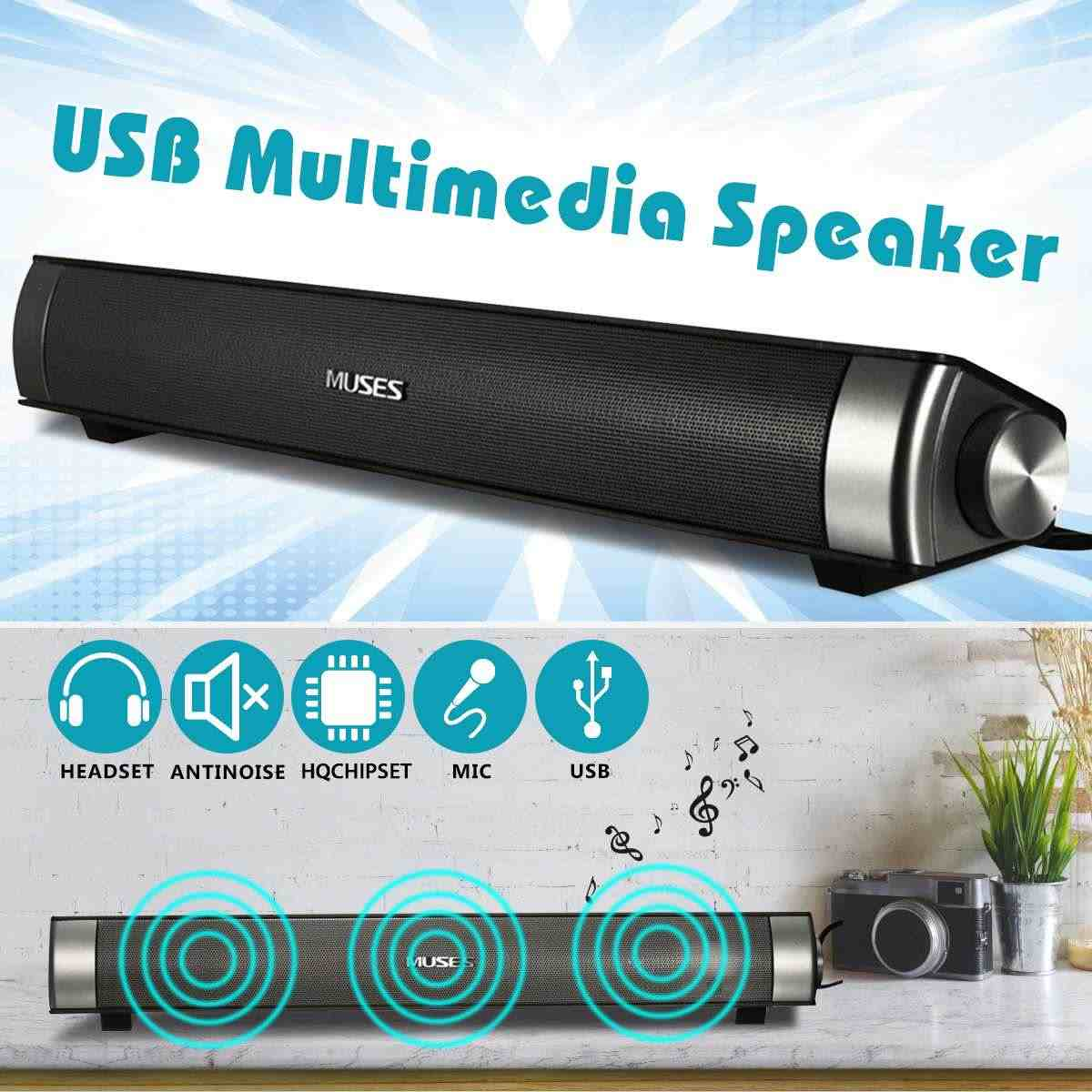 Portable Speaker 6 W Midas 2.0 Kabel Soundbar Speaker USB AUX Amplifier Hi Fi Stereo Sound Bar untuk TV Komputer PC