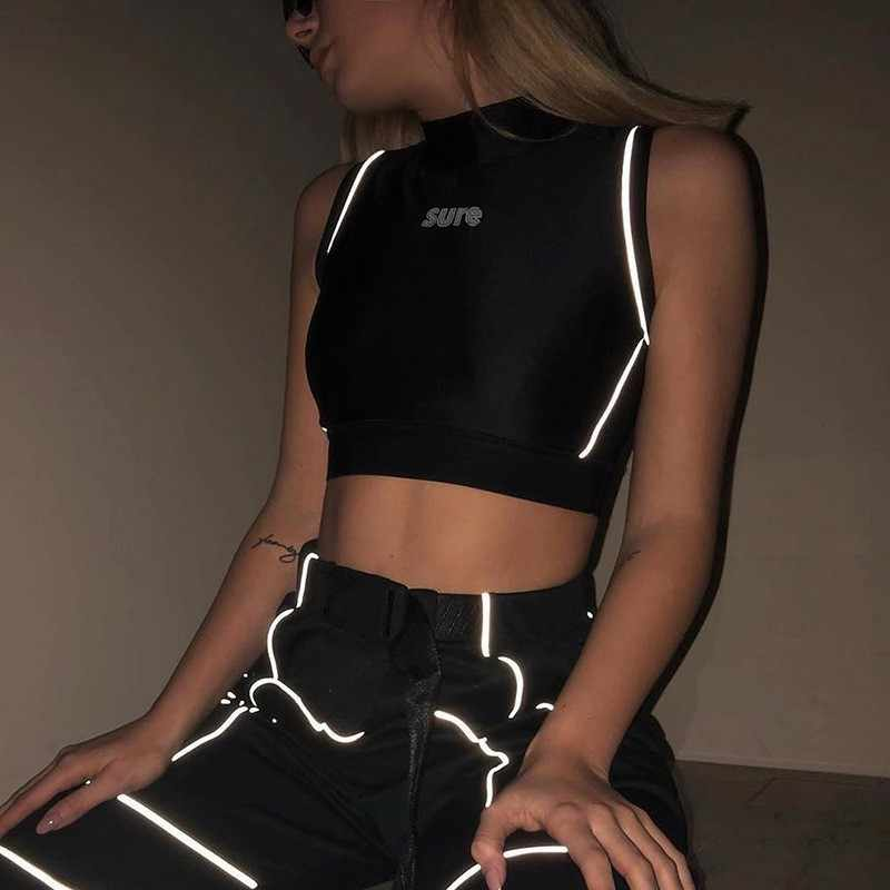 Cropped Bodycon Tank Tops Women Letter Print Reflective Streetwear Crop Top 2020 Summer Sexy Sleevelessc Tops Femme Black White