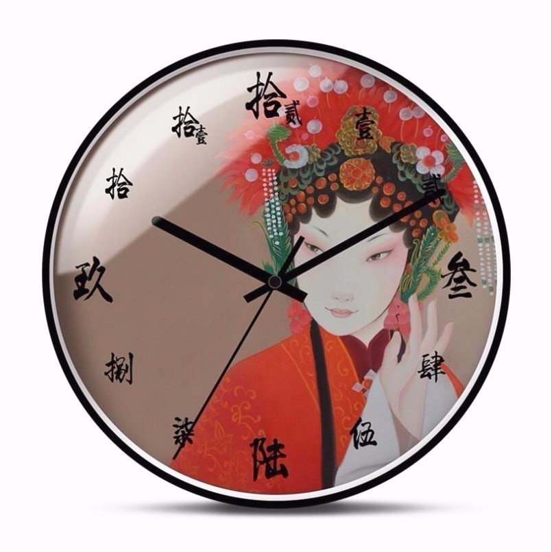New 3D Beijing Opera Wall Clock 12inch/14inch Silent Movement Wall Clock Modern Design Chinese Simple Wall Clock Large Size Home