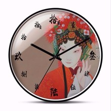 New 3D Beijing Opera Wall Clock 12inch/14inch Silent Movement Modern Design Chinese Simple Large Size Home