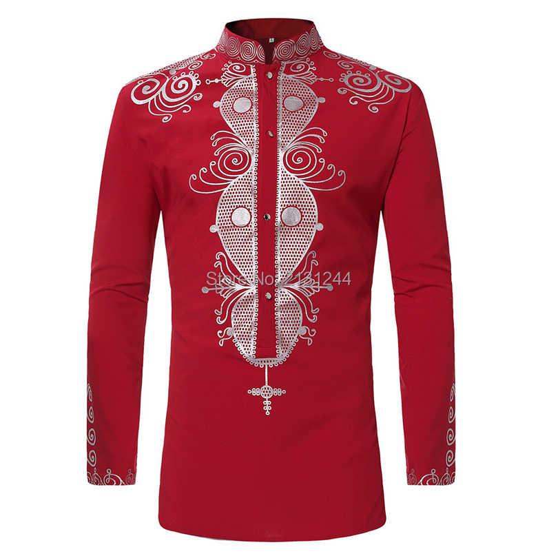 Mens Hipster African Print Dashiki Dress Shirt 2018 Brand New Tribal Ethnic Shirt  Men Long Sleeve 51e11ce27