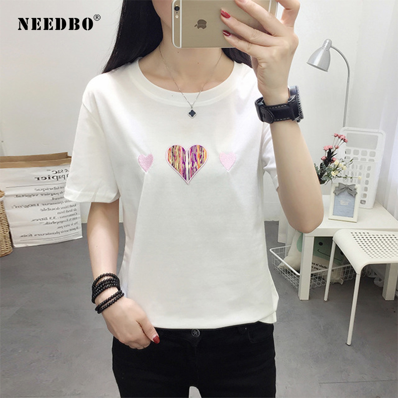 NEEDBO Women Tshirt Summer 2019 T Shirt Women Fashion Love Cotton Oversize Short Sleeve O-neck Tshirt Femme Printed T-shirt