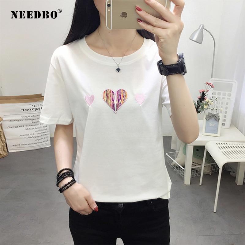 NEEDBO Women Tshirt Summer 2019 T Shirt Women Fashion Love Cotton Oversize Short Sleeve O-neck Tshirt Femme Printed T-shirt
