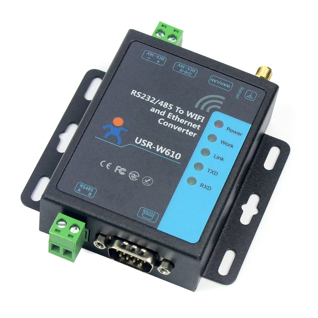 RS232 RS485 Serial To WiFi And Ethernet Converter USR-W610 Support TCP Server/TCP Client/UDP Server/UDP