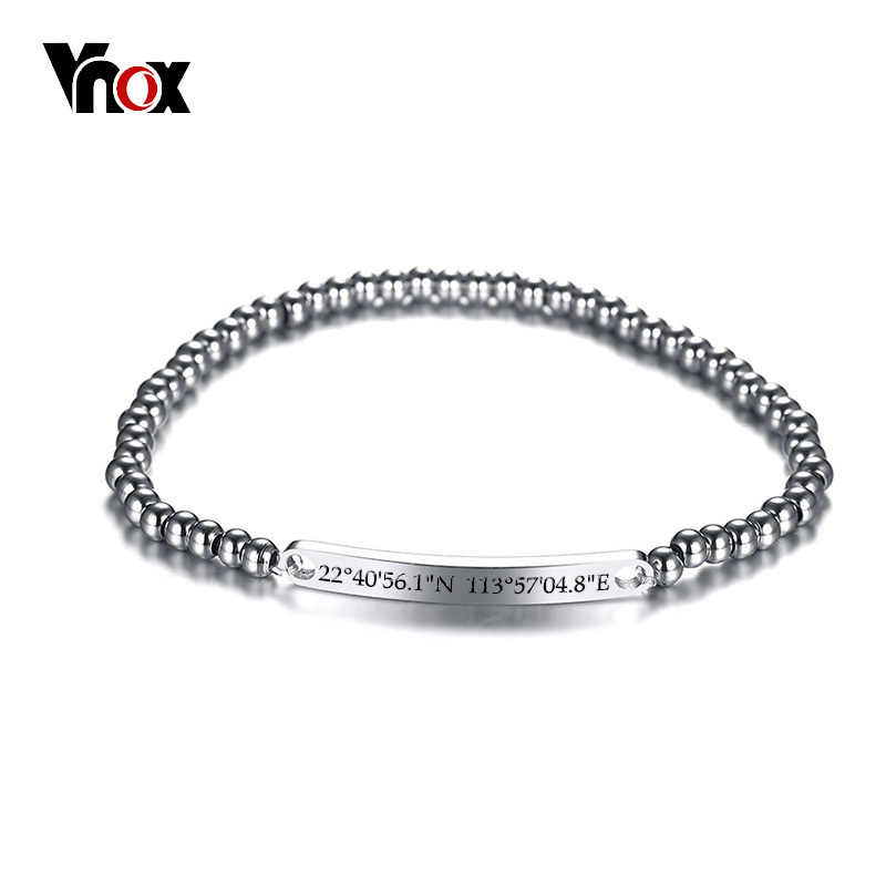 Vnox Personalize Memorable Place Coordinate Jewelry Stainless Steel Beads Women Men Bracelets ID Tag Silver Classic Pulseira