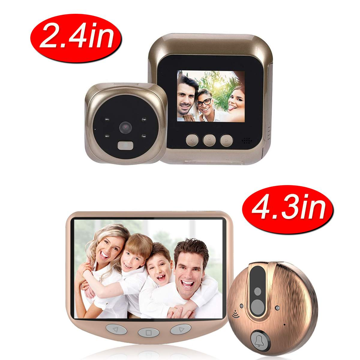 2.4Inch / 4.3Inch Peephole Door Camera LCD Display Screen With Electronic Doorbell LED Lights Video Door Viewer Home Security2.4Inch / 4.3Inch Peephole Door Camera LCD Display Screen With Electronic Doorbell LED Lights Video Door Viewer Home Security