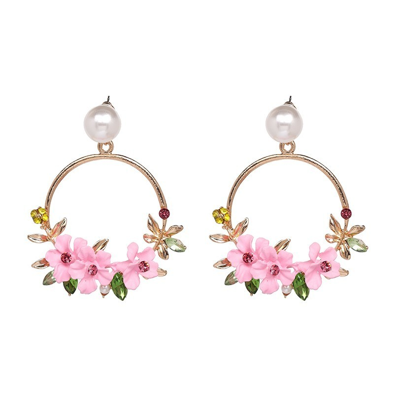 <font><b>Trendy</b></font> <font><b>Cute</b></font> <font><b>Pink</b></font> <font><b>Flower</b></font> <font><b>Earrings</b></font> <font><b>For</b></font> <font><b>Women</b></font> Girls Jewelry Female Rhinestone Gold Color Metal Round Circle Drop <font><b>Earrings</b></font> Gifts image