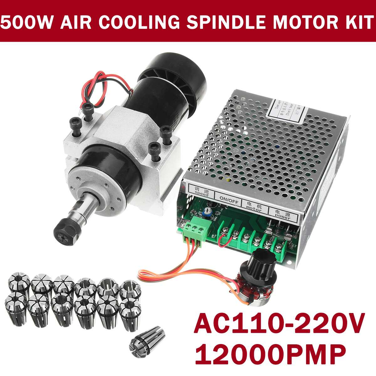 500W CNC Air Cooling Spindle Motor Engraving Machine Router 52mm Clamps Speed Governor ER11 Collet Chuck