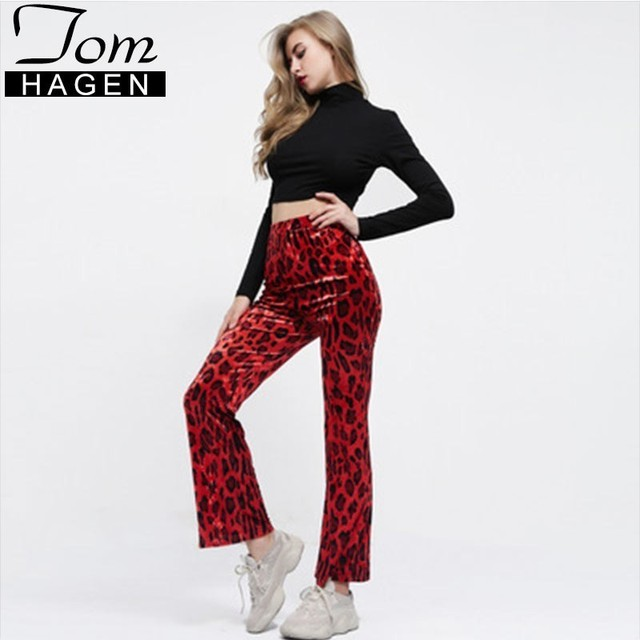7c318cf0921a Sexy Red Leopard Pants Women High Waist Flared Trousers Snake Print Skinny  Ladies Bell Bottom Pants Pantalon Palazzo