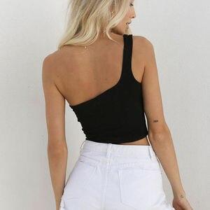 Image 4 - Women Sexy Cool Single One Shoulder Tank Tops Vest Bare Midriff Sleeveless T Shirt Summer Beach Crop Top