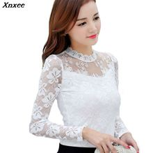 Xnxee Blusas 2019 Women Blouses Spring Autumn Fashion Sexy Slim Shirt Tops Lace Long Sleeve O-Neck Leisure Black/White S-5XL new spring autumn kids baby girl s lace flower pattern shirt tops long sleeve blouse pullover o neck white costumes