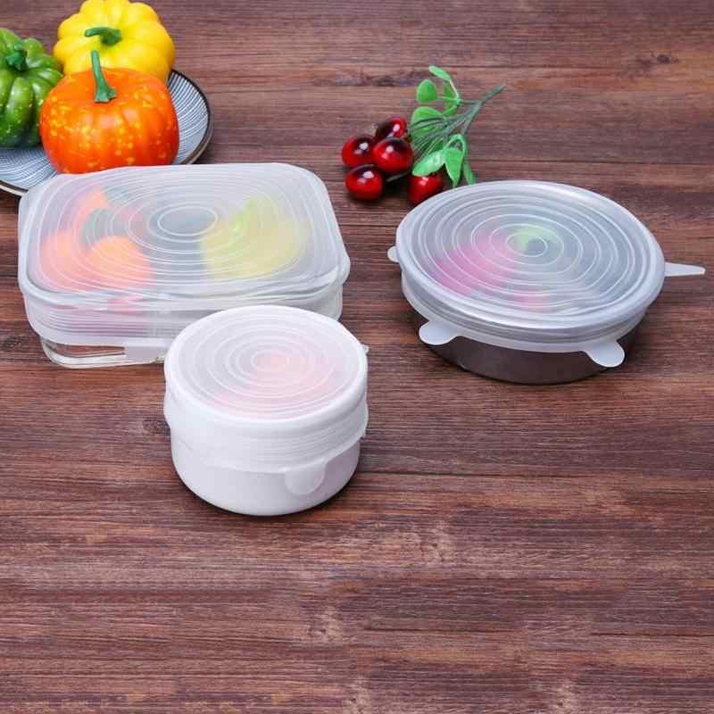 Tahan Panas Dapat Digunakan Kembali Peregangan Silikon Tutup Universal Makanan Bungkus Mangkuk Pot Pan Cover Peralatan Masak Tutup Dapur Kulkas Memasak