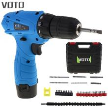 VOTO 12V cordless screwdriver with lithium ion Battery Electric Drill Home Multifunction Electric Scr + Plastic Box voto ac 100 240v cordless 12v electric drill screwdriver with adjustment switch and two speed adjustment button for punching