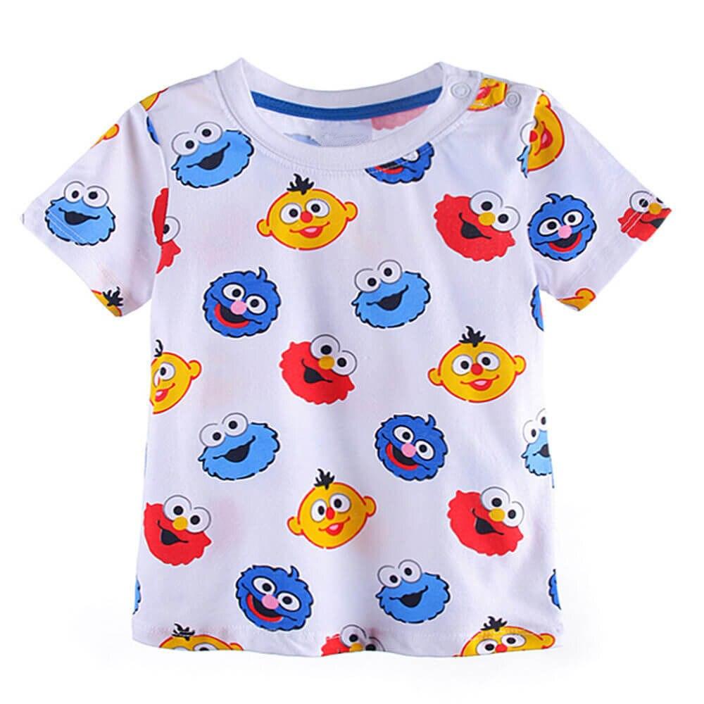 Littlemandy Sesame Street Withe Print Baby Boys Tees 2018