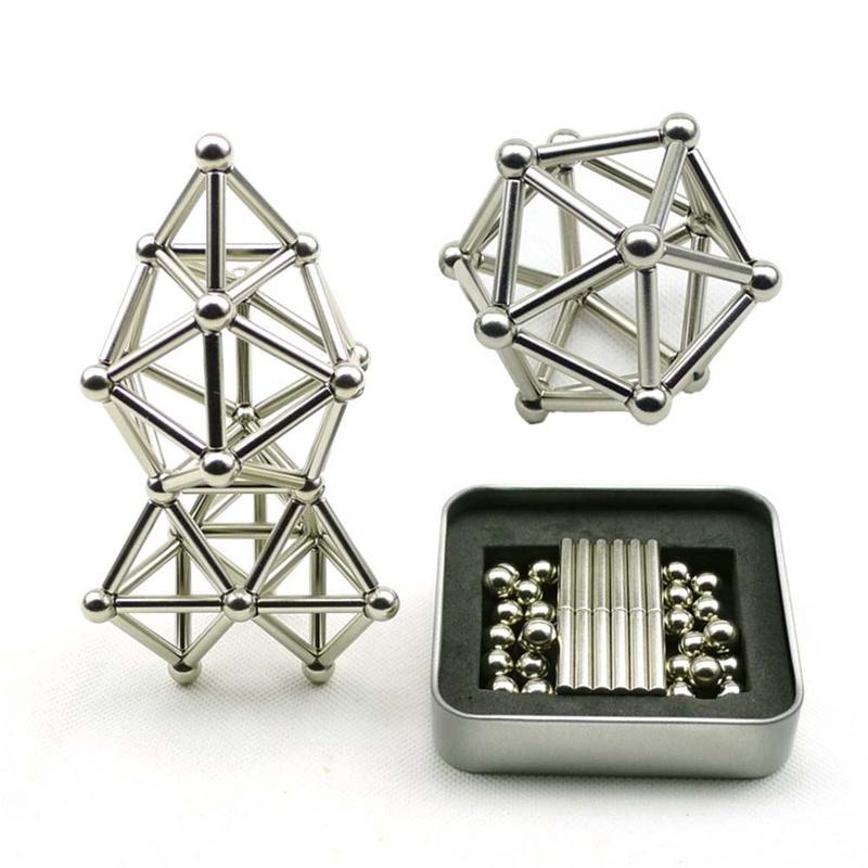 Innovadoras Buckyballs 36 piezas palos magnéticos y 27 piezas de bolas de acero juguetes de bloques de construcción juguete de alivio de presión