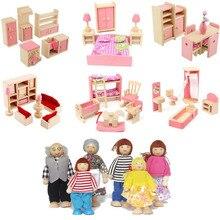 Прекрасная деревянная миниатюрная мебель для кукольного дома, игрушка для кукол, для детей, для ролевых игр, для гостиной, ванной комнаты, 6 комнатных наборов, игрушки для кукол