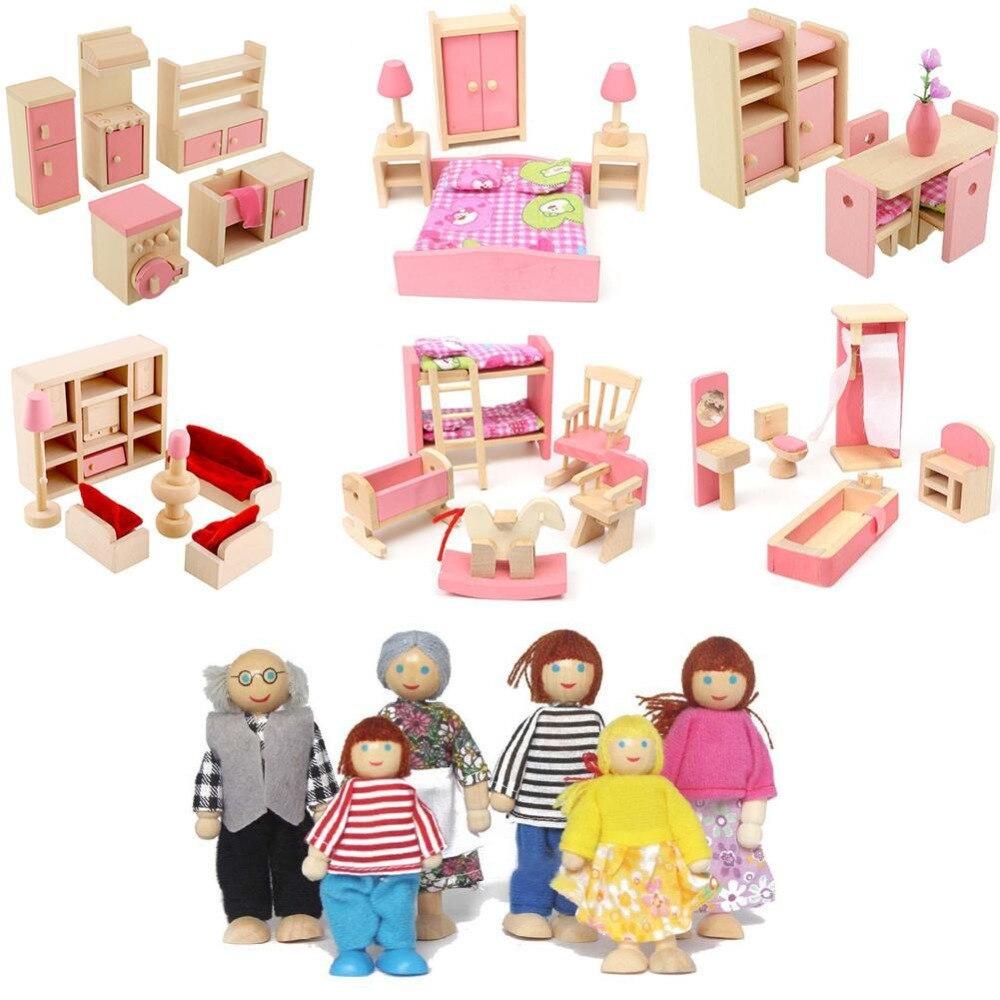 Lovely Wooden Dollhouse Furniture Miniature For Dolls Kids Children Pretend Play Living Room Bathroom 6 Room Set/4 Dolls Toys