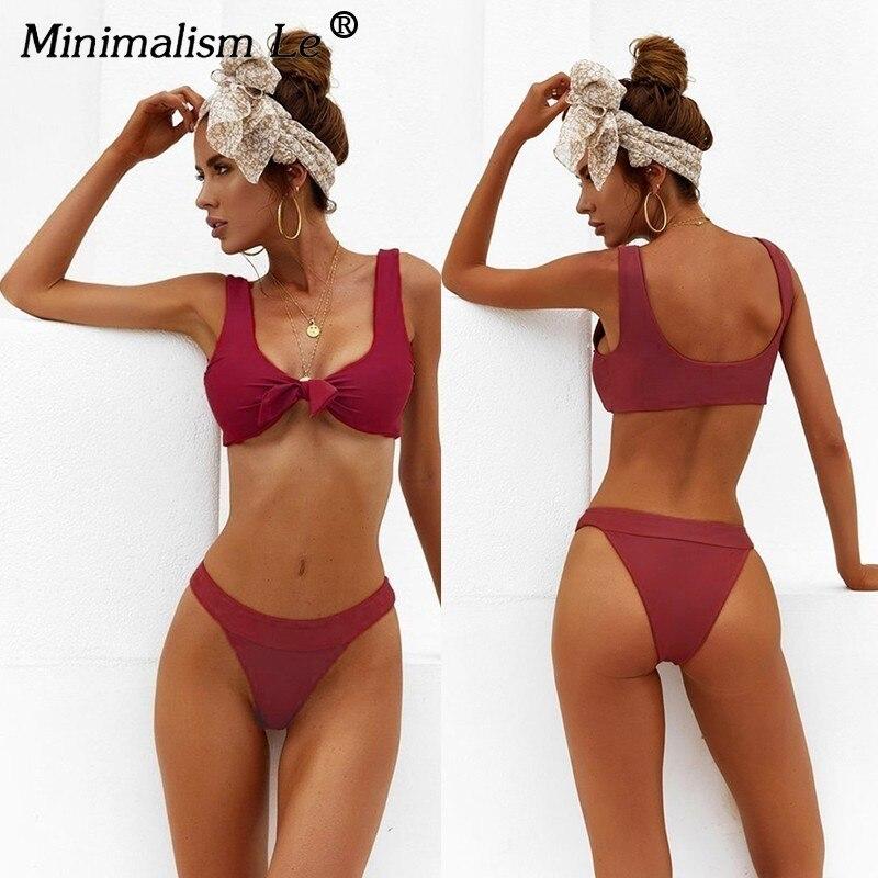 13e0770e94d0 Minimalismo Le 2019 Sexy vendaje traje de baño sólido Bikini conjuntos  nuevo estilo traje de baño mujer ropa de playa Bikinis traje de baño Biquini