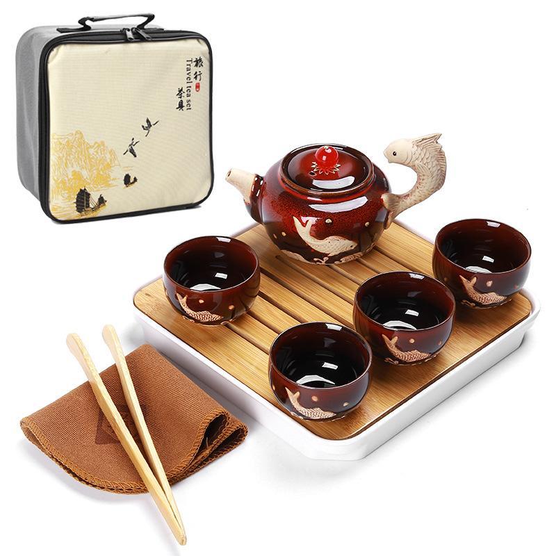 Chine thé Kung Fu Set Portable tasses à thé en céramique Caddies à thé bambou plateau à thé chinois cérémonie de thé Set cadeau pour ami - 4