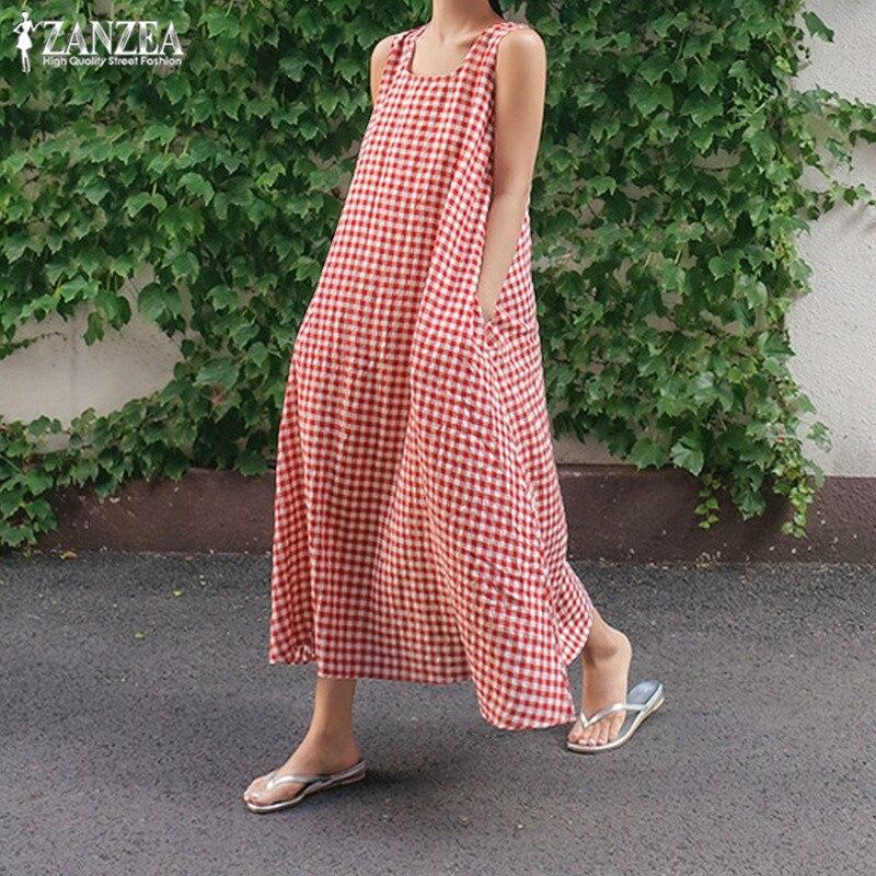 471b2b9550a Богемное Летнее Длинное платье женские проверьте сарафан ZANZEA 2019 макси  платья без рукавов Vestidos Винтаж халат большого размера 5XL - a.glope.me