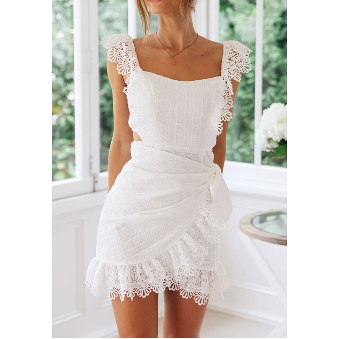 2019 Summer Women Backless Dress Elegant Bodycon White Lace Embroidery Hollow Out Short Mini