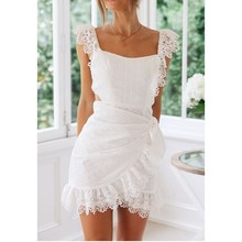 2019 Summer Women Backless Dress Elegant Bodycon White Lace Dress Embroidery Hollow Out Short Mini Dress white delicate lace mini slip dress