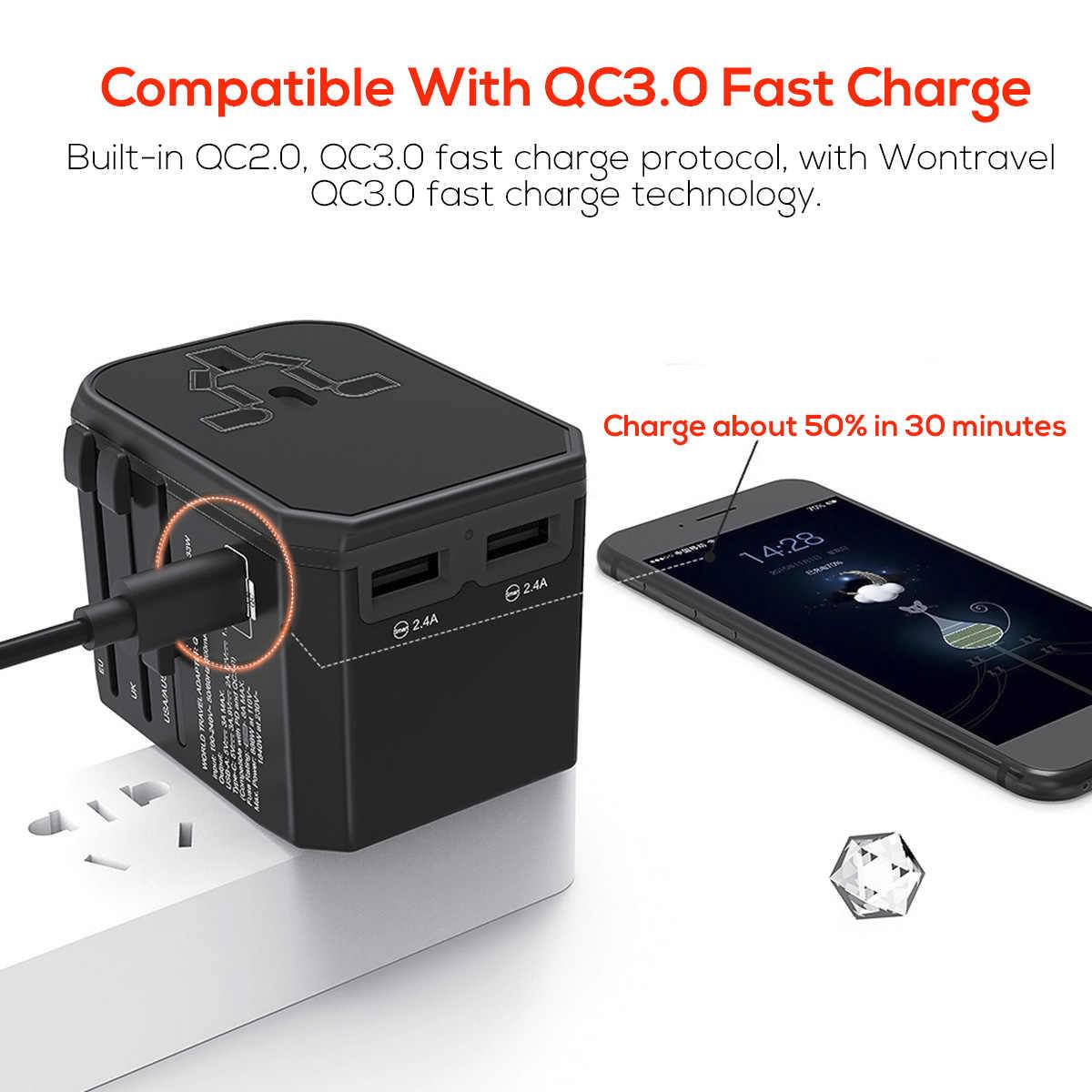 Szybkie ładowanie PD3.0/QC 3.0/FCP/AFC Adapter podróżny uniwersalna 33W USB typu C na całym świecie ładowarka za pomocą tego narzędzia online bez US/UK/AU/ue wtyczka gniazdo