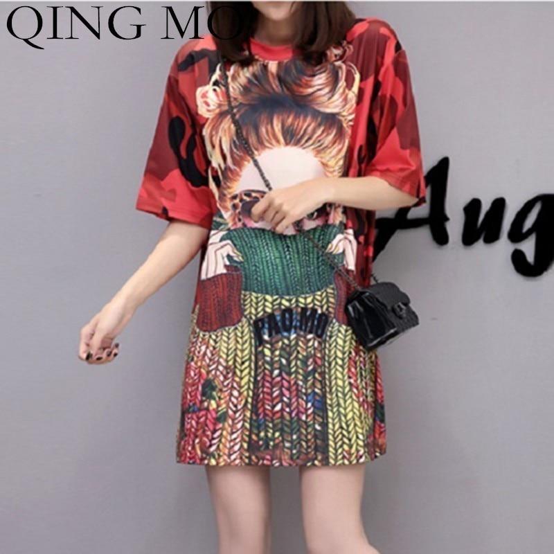 QING MO Red T Shirt Women Character Print Dress 2019 Summer Camouflage Dress Women Half Sleeve