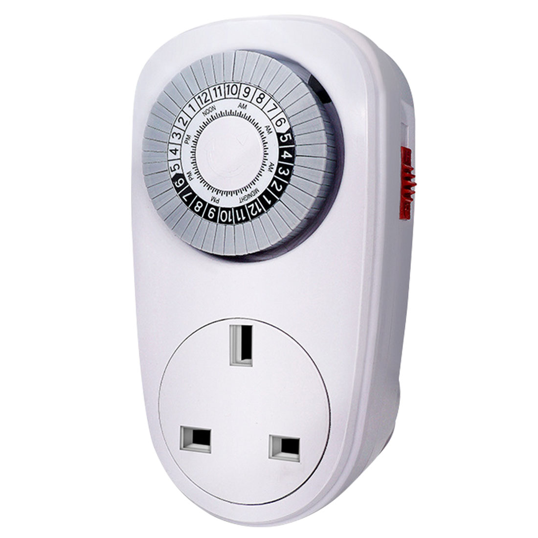 24 Hours Programmable Mechanical Mini Timer Switch Smart Countdown Switch Socket 125V 15A White