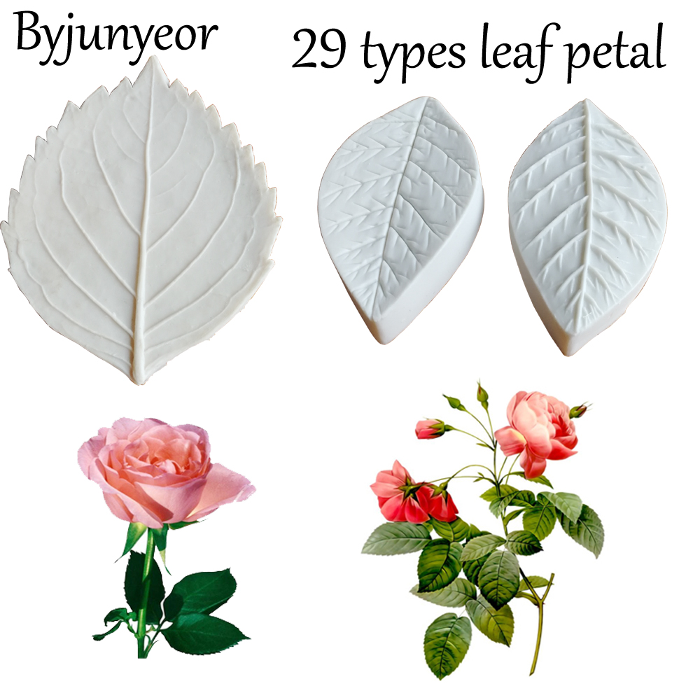 26 types Flower&Leaf Petal Silicone Mold Fondant Mould Cake Decorating Tools Gumpaste Veiners Mold, Sugarcraft Tools C336