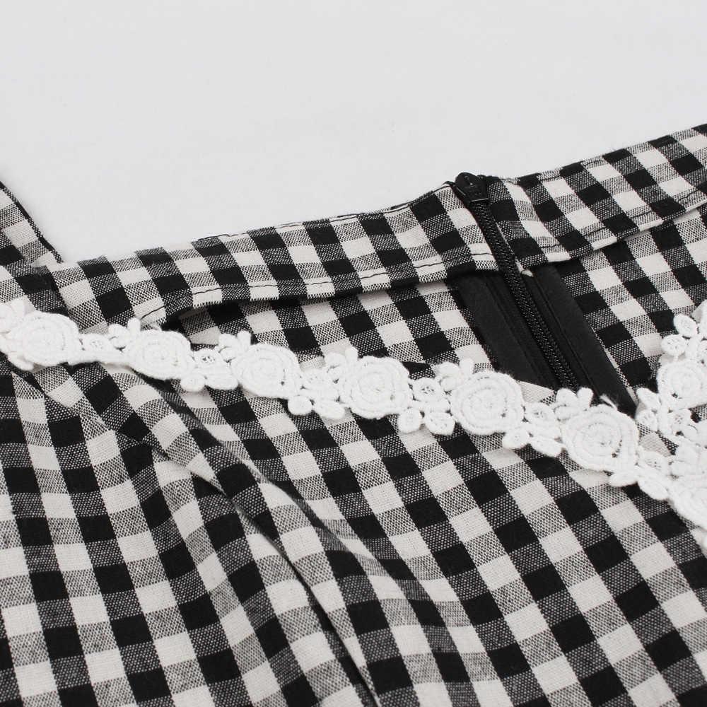 Ретро Клетка печати качели винтажное платье женское летнее v-образным вырезом без рукавов Pin Up Платье Карманы Высокая талия ретро вечерние платья плед