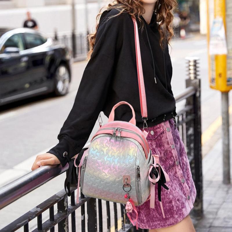 2 Ways Using Patent Leather Backpack Women Travel Bags Casual Ribbon Ladies School Bags Gradient Pattern Headphone Jack