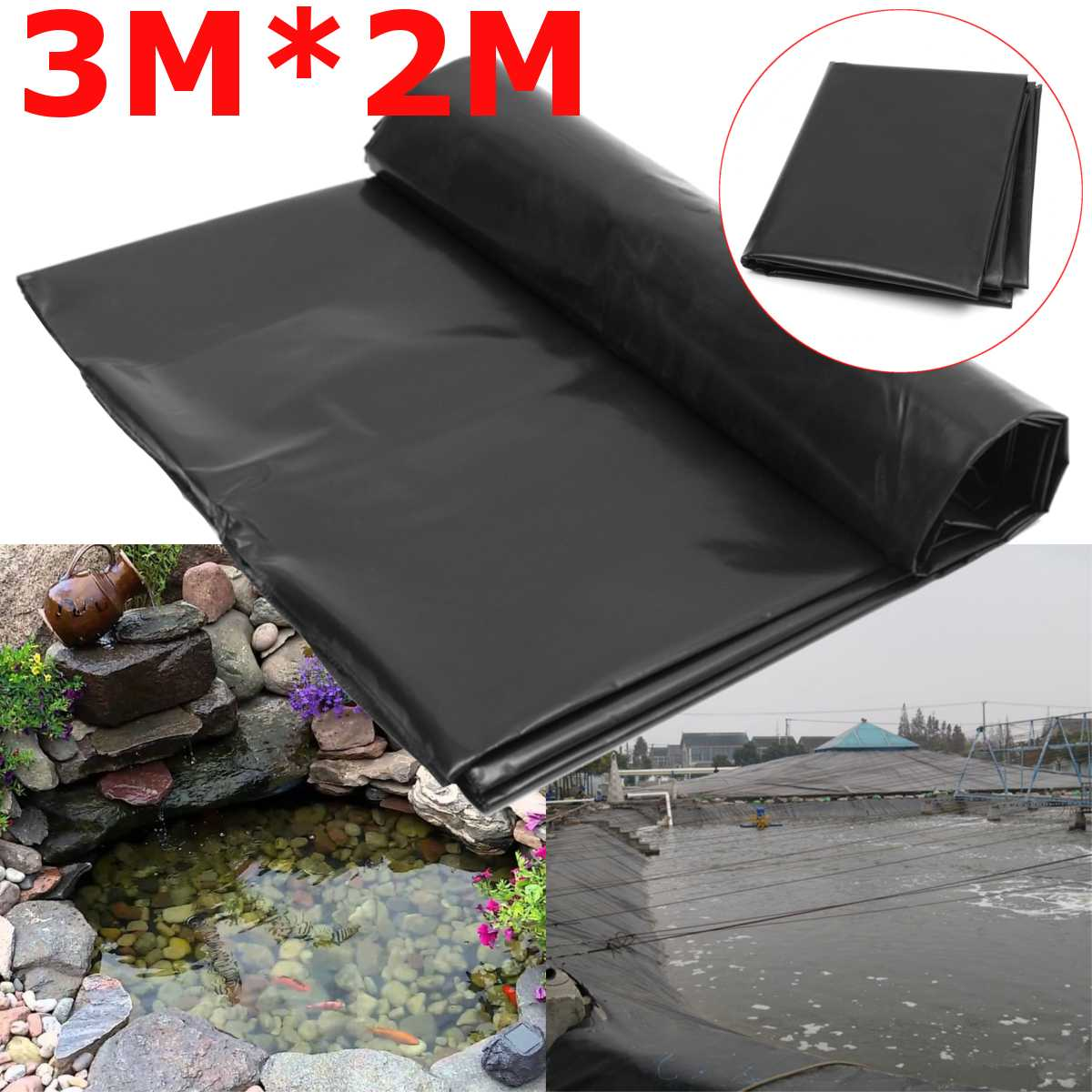 3X2M Black Fish Pond Liner Cloth Home Garden Pool Reinforced HDPE Heavy   Landscaping Pool Pond Waterproof Liner Cloth New|Pond Liners| |  - title=