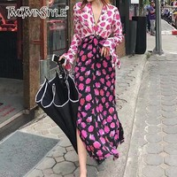 TWOTWINSTYLE Hit Colors Patchwork Dresses Women V Neck Long Sleeve Lace Up High Waist Side Split Dress Female 2019 Spring New