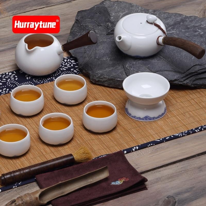 Ensemble de thé chinois Kung Fu théière en céramique blanche café en porcelaine Gaiwan thé tasses de cérémonie théière théière bouilloire