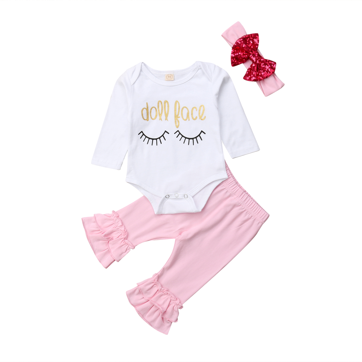 Cute 3PCS Newborn Baby Girl Boy Long Sleeve Top Blouse Pants Headband Outfit Set