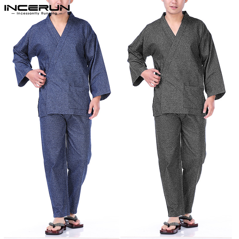 INCERUN Men Japanese Kimono Set Pajamas Set Long Sleeve Leisure Retro Pants Men Sleepwear Homewear Suit Nightgown Plus Size 2019