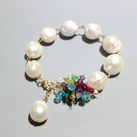 LiiJi Unique Real Baroque Pearl With Multi Stone 925 Sterling Silver Gold Color Handmade Bracelet For Women Drop Shipping