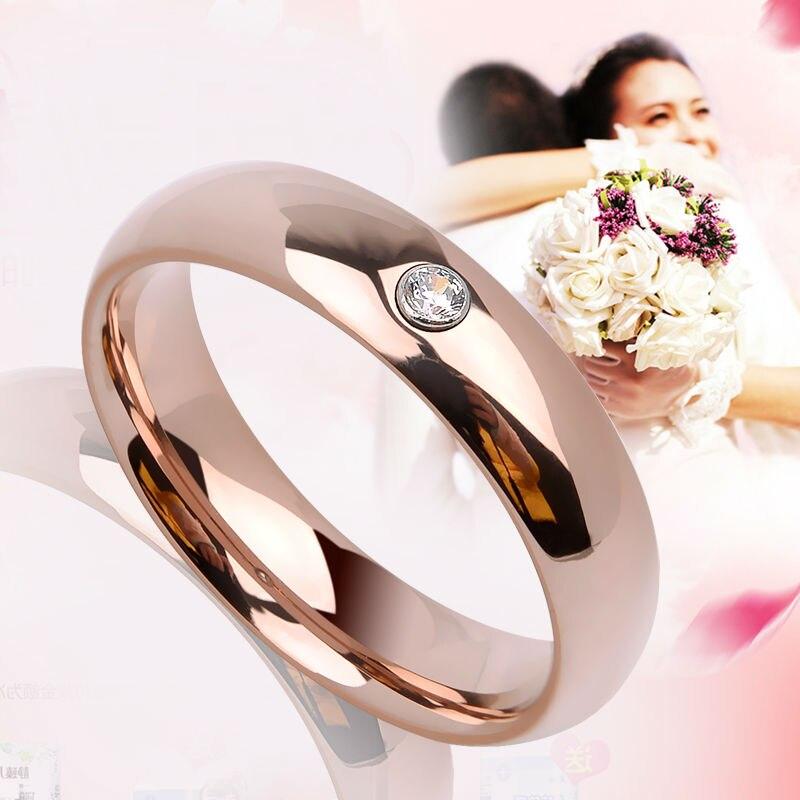 2019 Saya nouveauté haute poli or Rose placage tungstène anneaux de mariage largeur 3.5mm/5mm pour femme homme avec CZ pierres 4-11