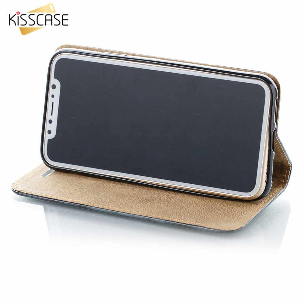 KISSCASE جلد الوجه حقيبة لهاتف سامسونج S9 S8 S7 S6 حافة ملاحظة 9 8 جرلي جراب هاتف حامل فتحة للبطاقات لسامسونج A5 A7 j5 J7 غطاء