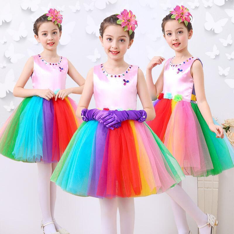 Songyuexia Children's Tutu Costumes Girls Princess Dresses Kindergarten Girls Dancing Costumes Colorful Dance Gauze Shows